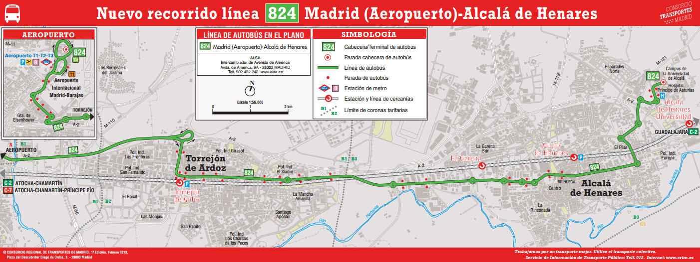 Recorrido Línea de autobús 824 Alcalá-Aeropuerto Madrid-Barajas