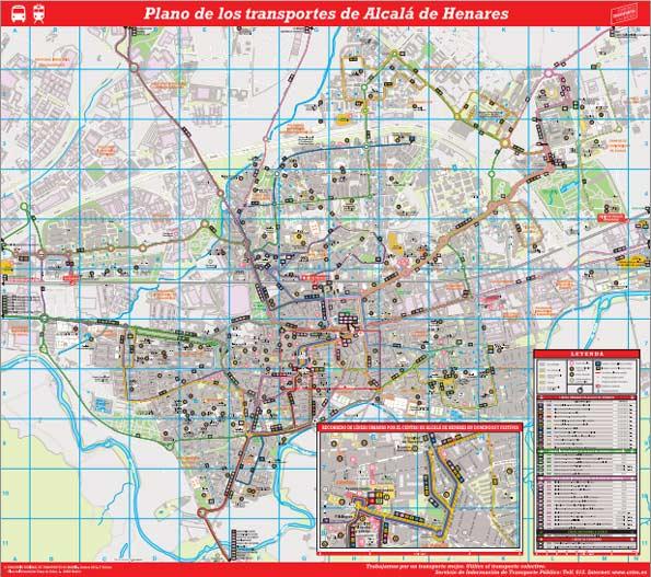 Plano de transportes de Madrid y Alcalá de Henares