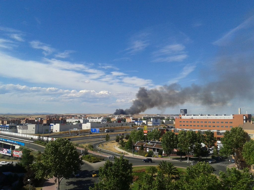 incendio en Alcalá de Henares desde Ballesol