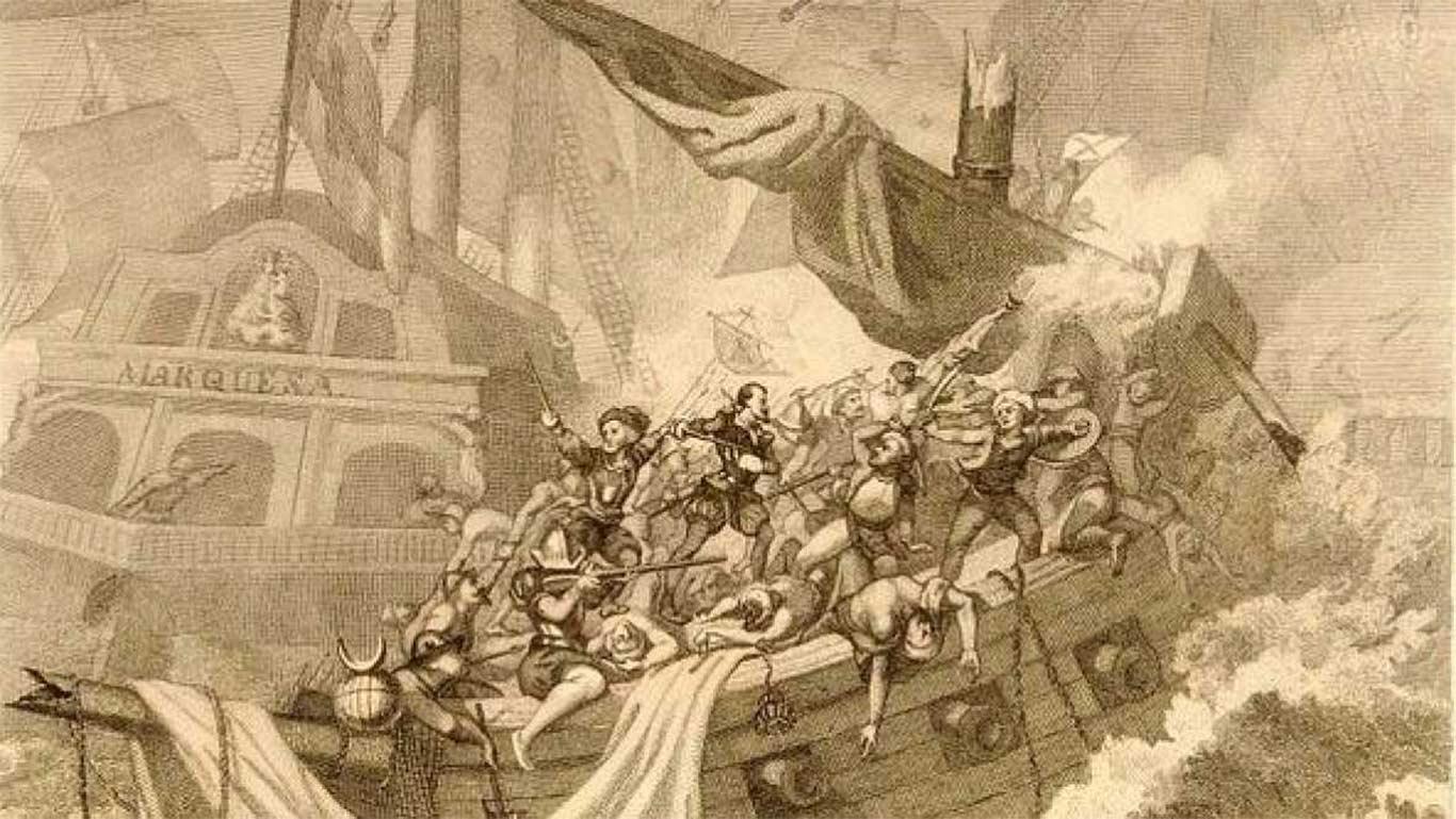 Imagen de Cervantes peleando en Lepanto a bordo de la Marquesa