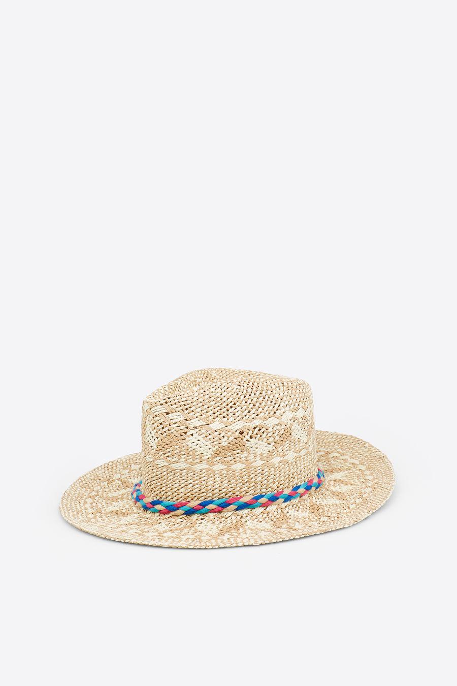 Sombrero de rafia básico con detalle de trenza multicolor con pompones. Un  accesorio más para tus looks de sol (19 6bb59d4d002