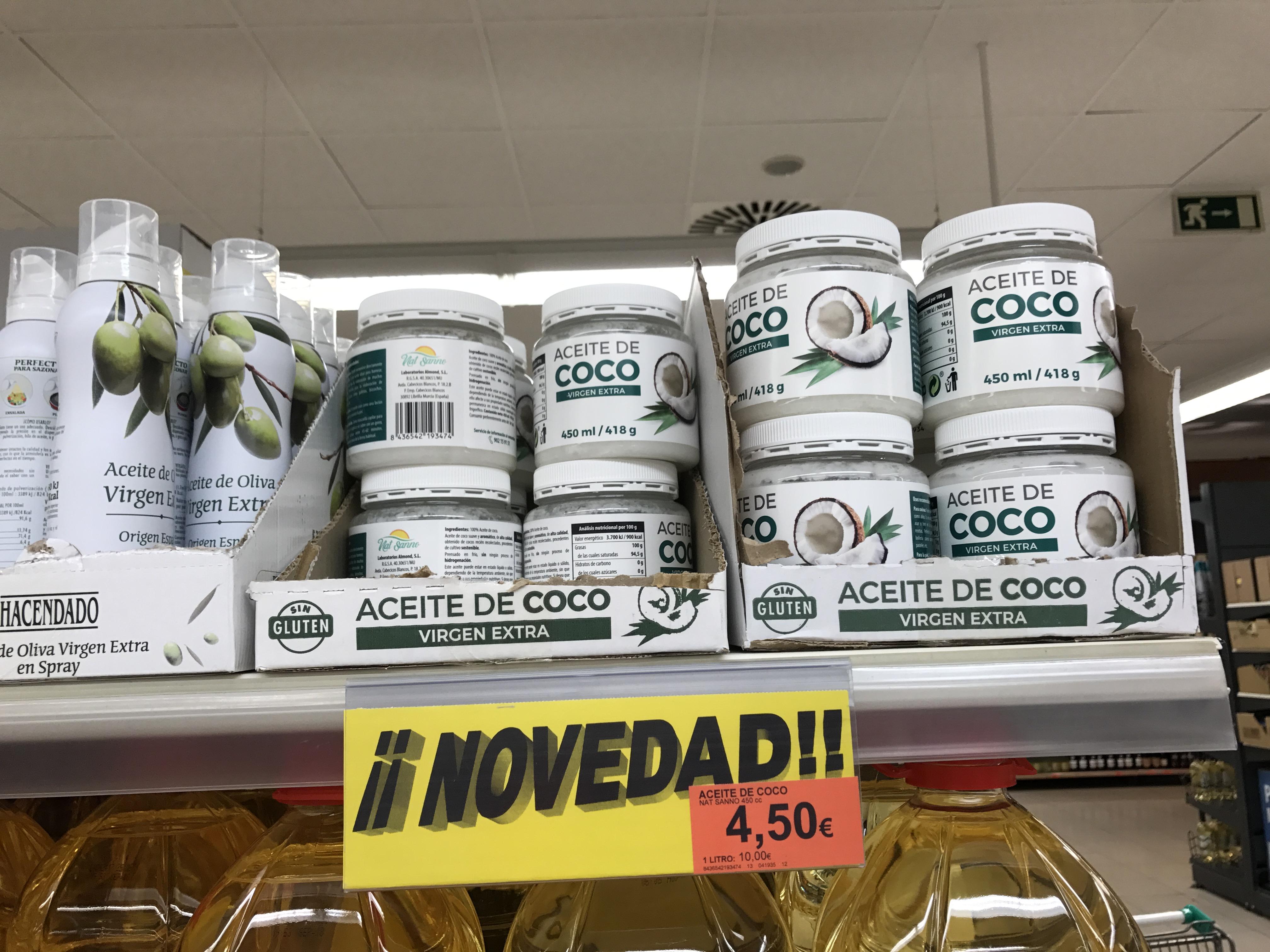 aceite de coco en Mercadona