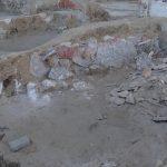 Casa de los Grifos. Detalle de restos pictóricos aún por rescatar y restaurar.