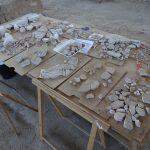 Casa de los Grifos. Mesa con fragmentos rescatados de la edificación.
