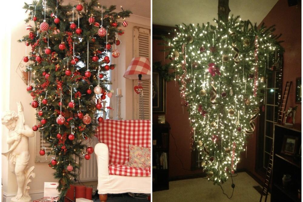 Arbol de navidad que cuelga del techo